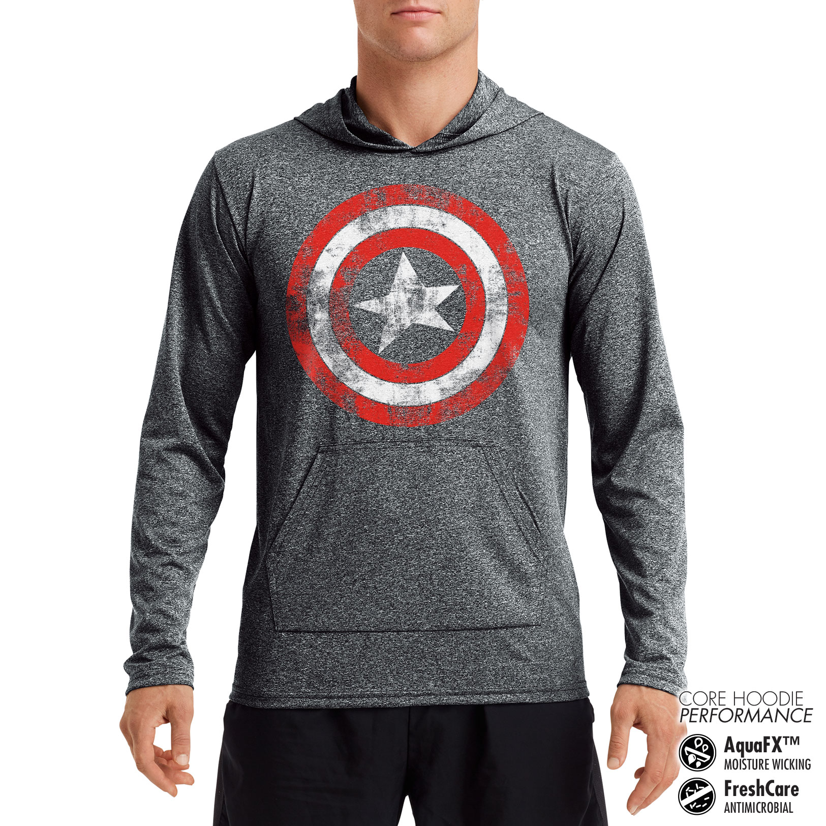 Captain America Distressed Shield Performance Hoodie