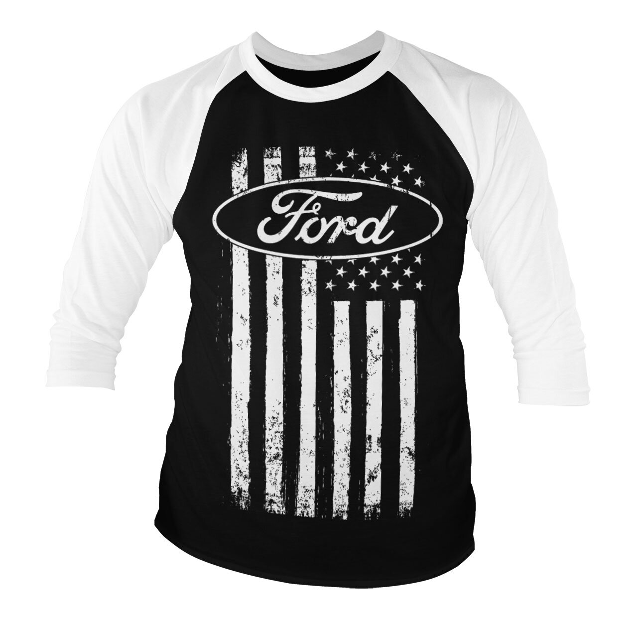 Ford American Flag Baseball 3/4 Sleeve Tee
